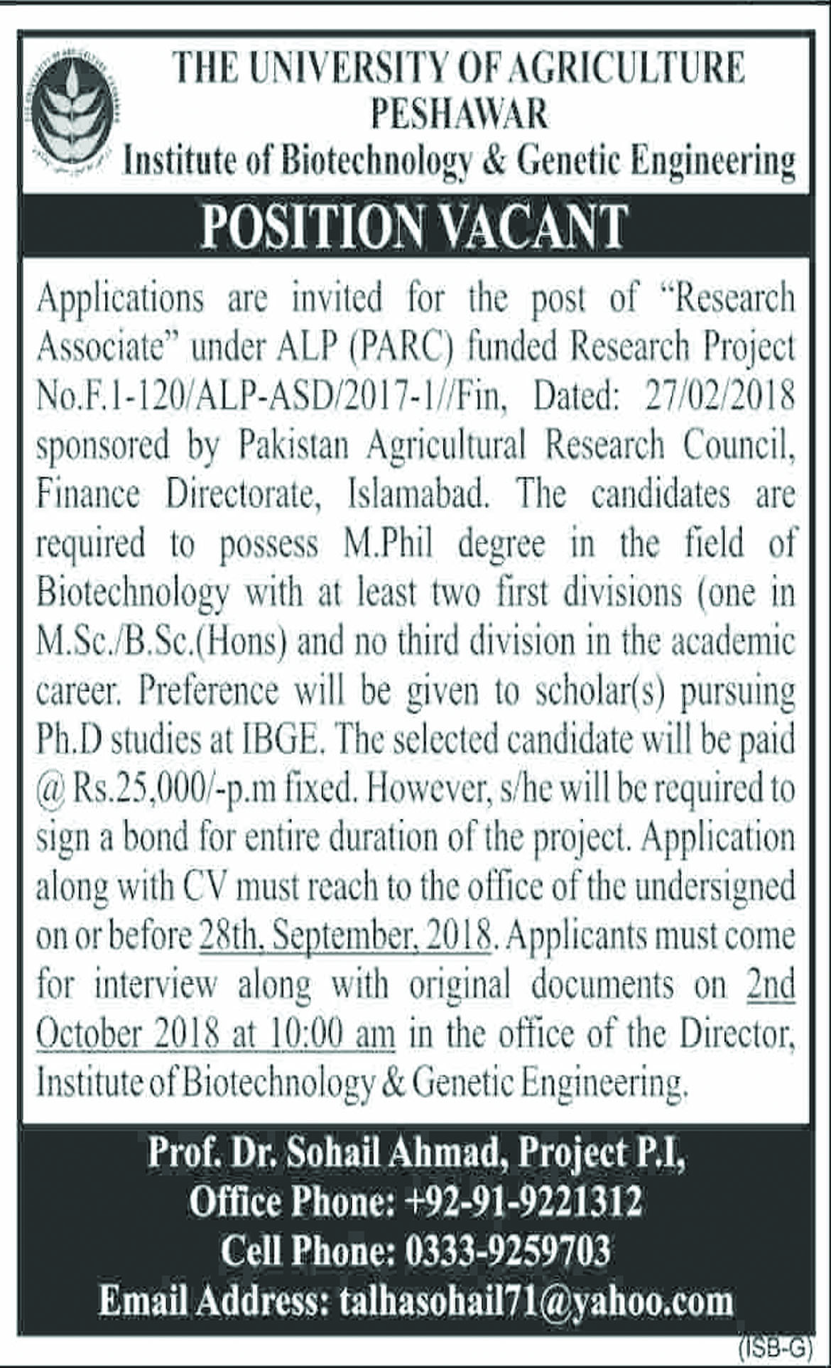 Jobs In The University Of Agriculture Peshawar 11 Sep 2018