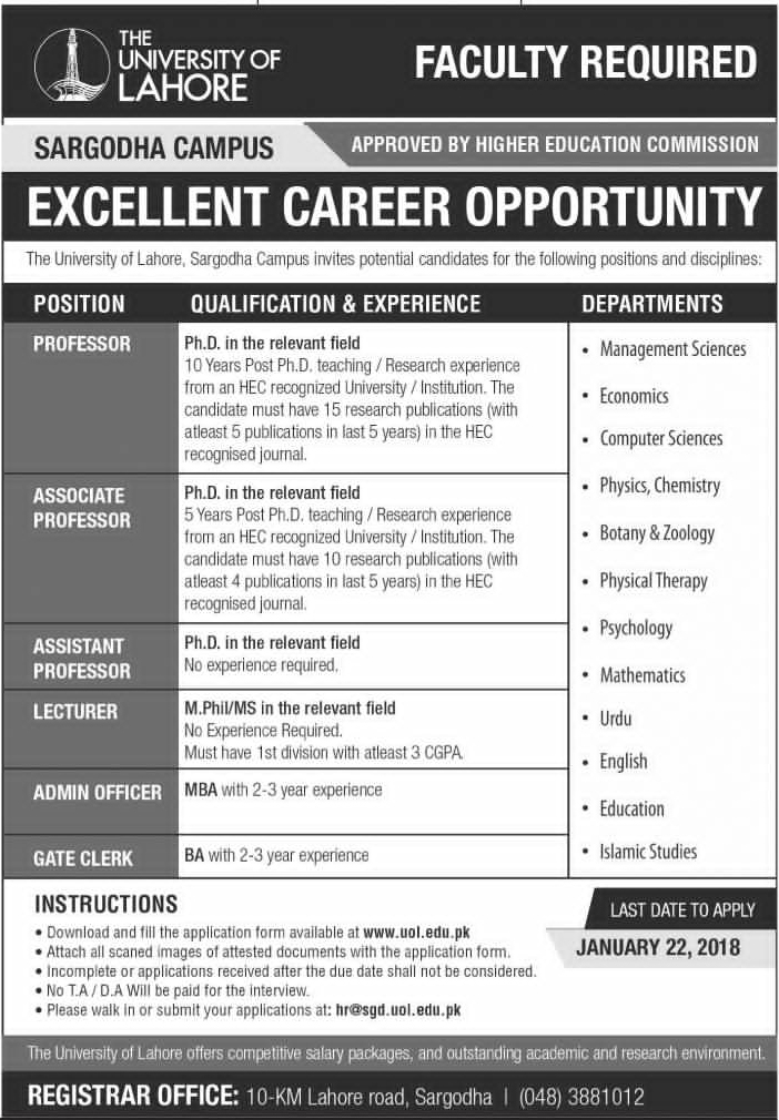 Jobs In The University Of Lahore 14 Jan 2018