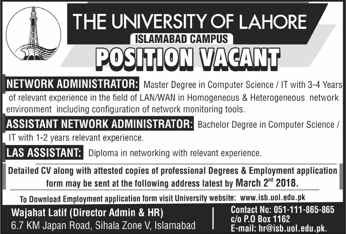 Jobs in The University of Lahore 24 Feb 2018