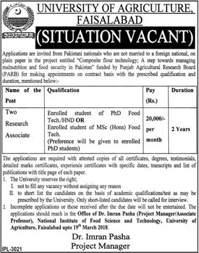Jobs in University Of Agriculture Faisalabad 09 Mar 2018
