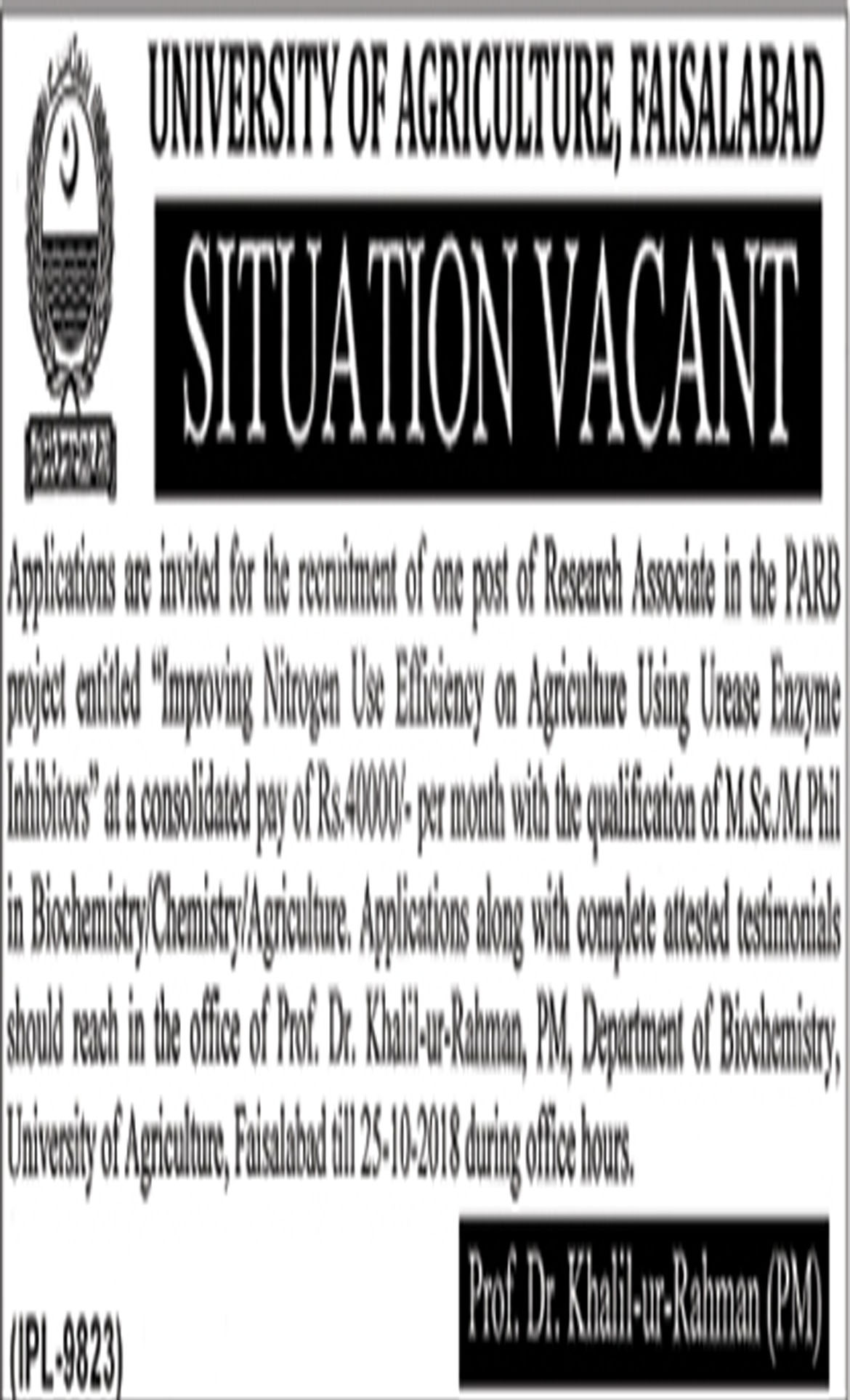 Jobs In University Of Agriculture Faisalabad 5 Oct 2018