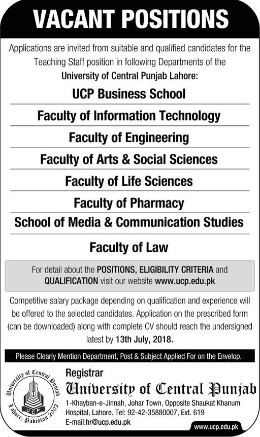 Jobs in University of Central Punjab 24 June 2018