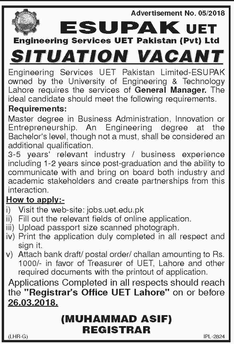 Jobs In University of Engineering And Technology 05 Mar 2018