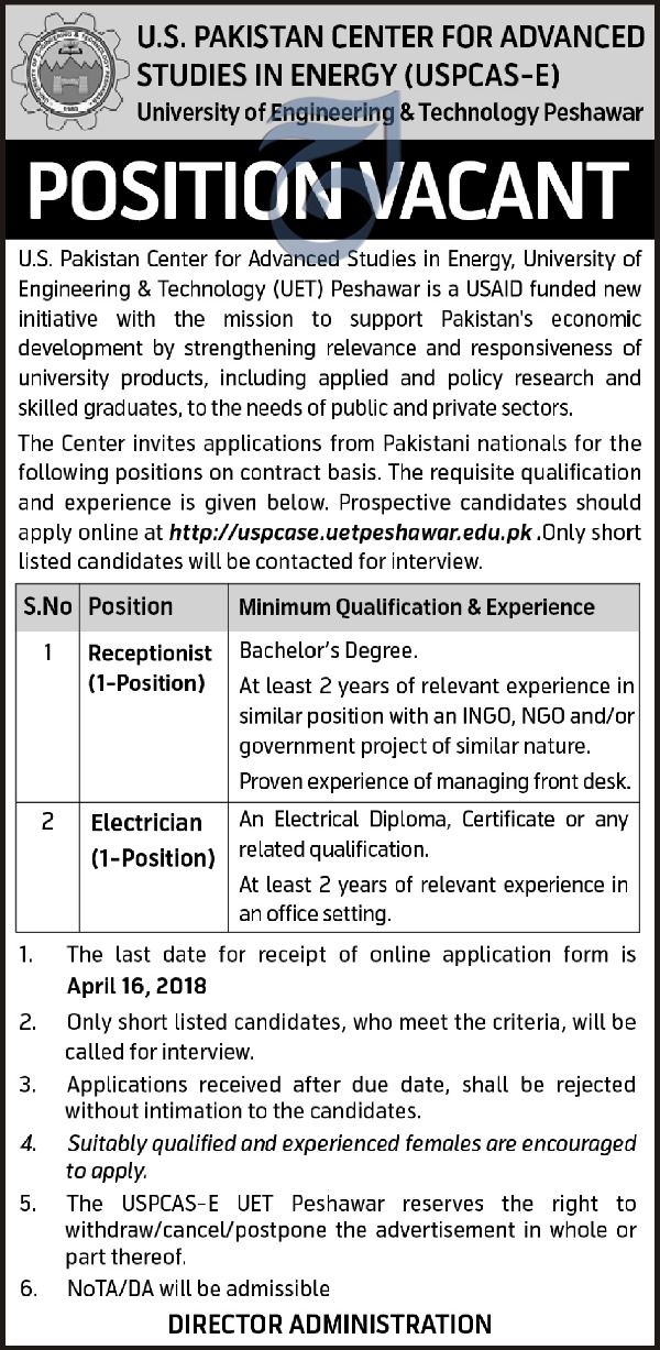Jobs in University of Engineering and Technology Peshawar 10 April 2018