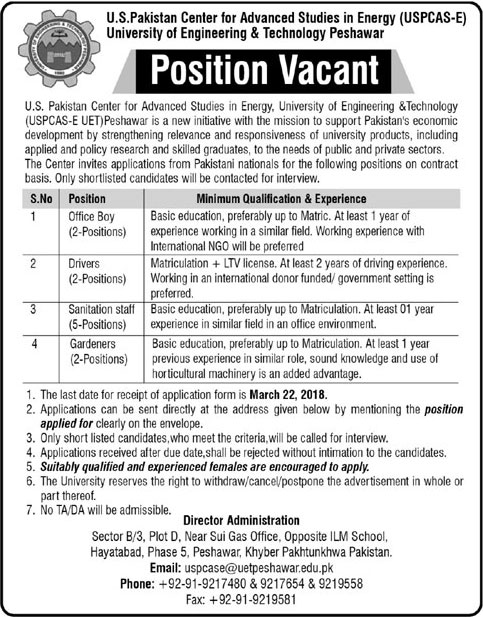 Jobs In University Of Engineering And Technology Peshawar 14 Mar 2018