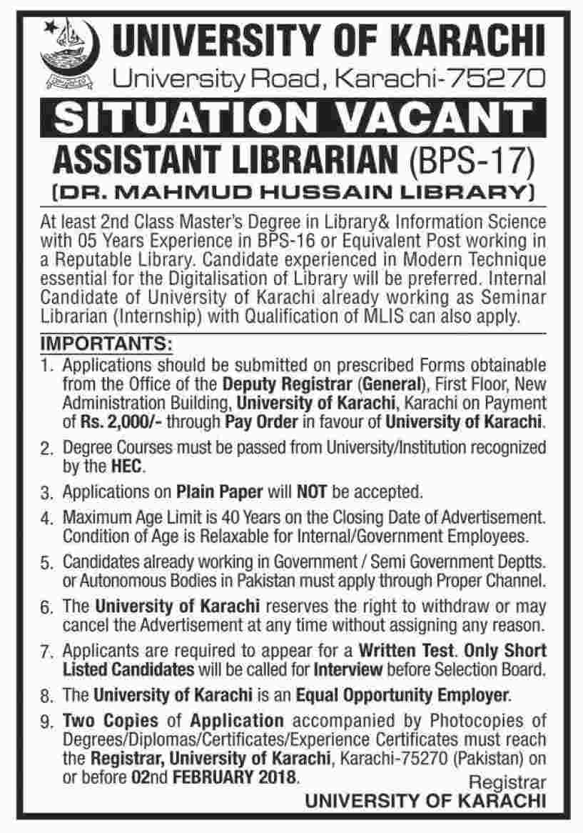 Jobs in University Of Karachi 15 Jan 2018