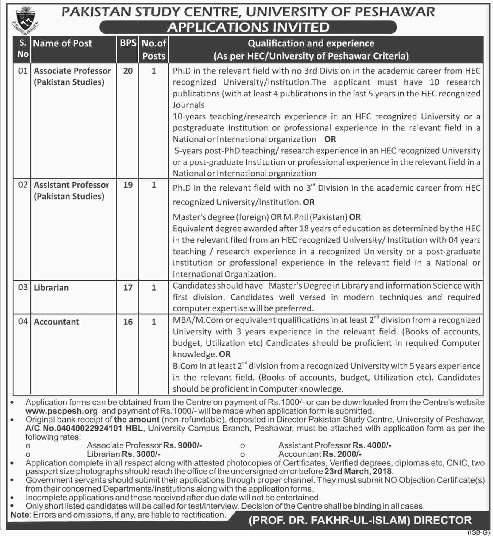 Jobs In University Of Peshawar 08 Mar 2018