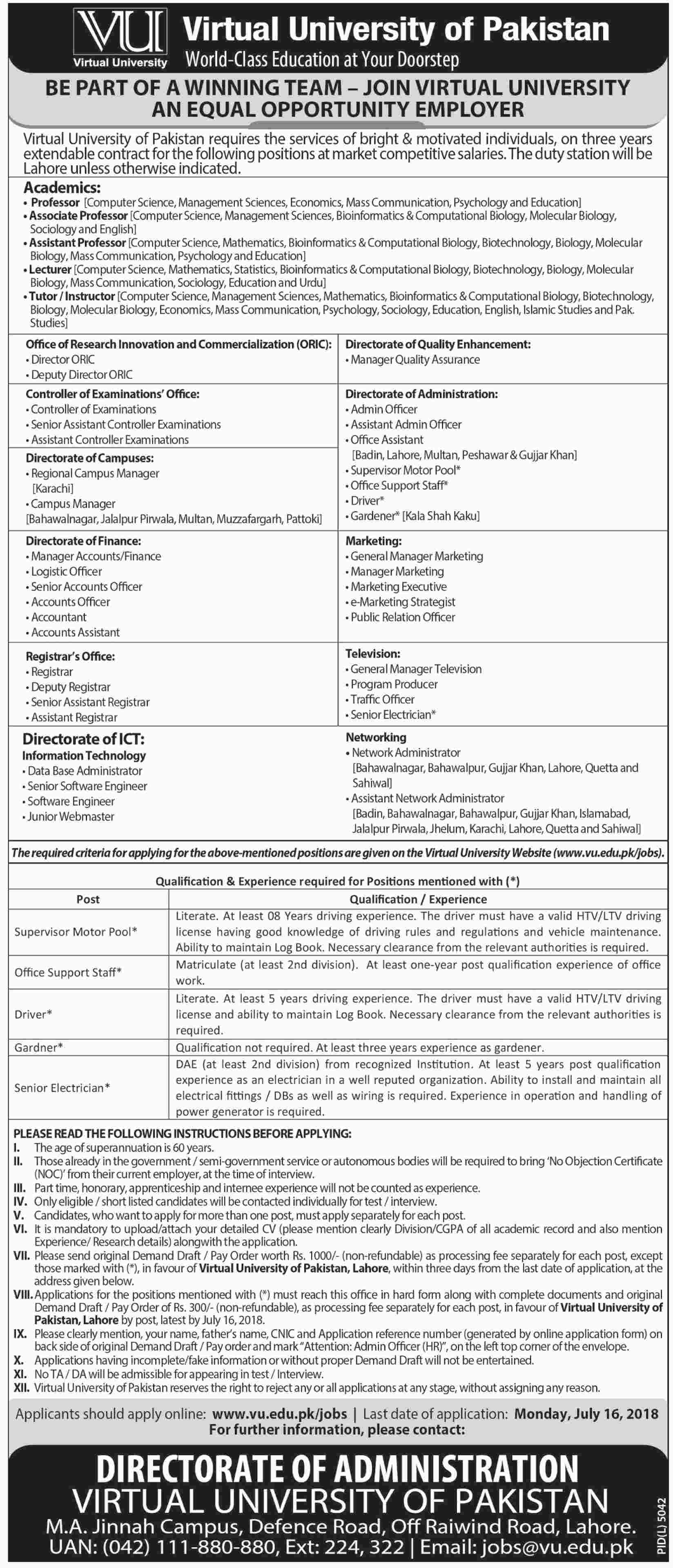Jobs in Virtual University of Pakistan 01 July 2018
