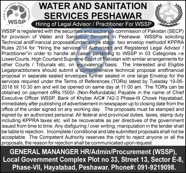 Jobs in Water and Sanitation Services Peshawar 25 May 2018