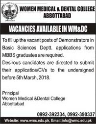 Jobs In Women Medical And Dental College Abbottabad 21 Feb 2018