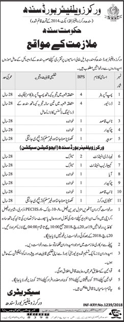 Jobs in Workers Welfare Board Sindh 05 March 2018