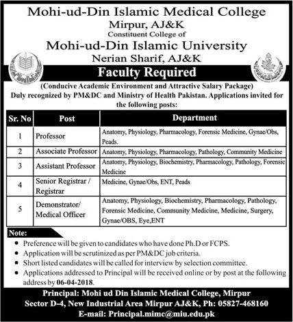 Jobs Mohi ud Din Islamic Medical College Mirpur 25 Mar 2018