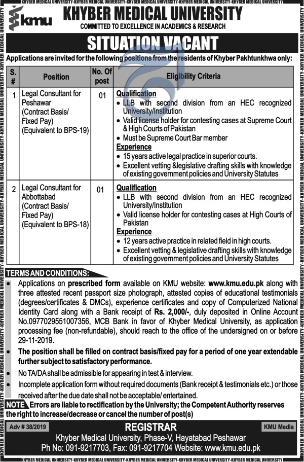 Khyber Medical University KMU Offering Jobs In  Peshawar