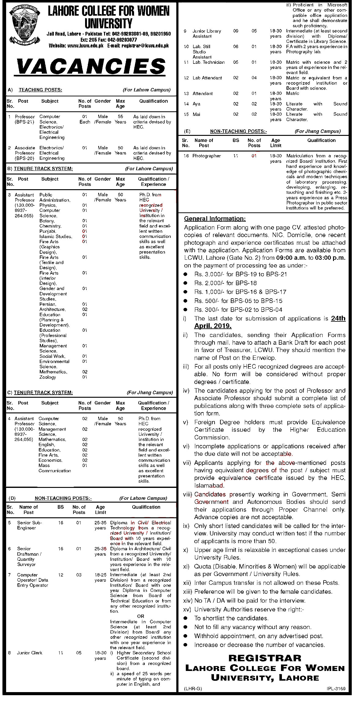 Lahore College for Women University is Offering Jobs in Different Department