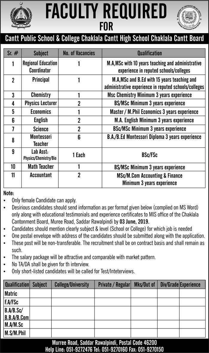 Latest Jobs In Cantt Public School and College Chaklala 2019