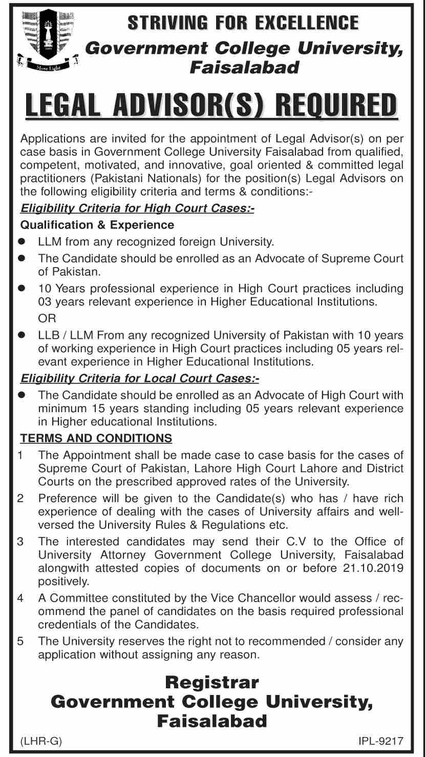Legal Advisor  Government College University Jobs In Faisalabad