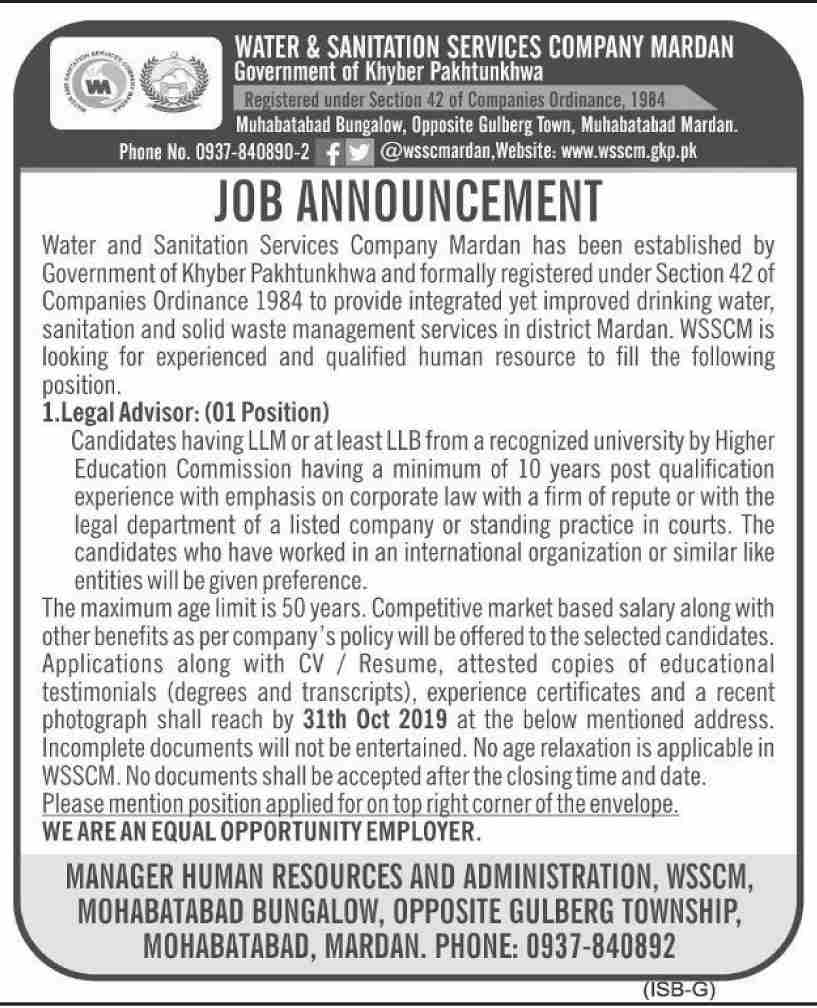 Legal Advisor Offering Jobs In  Water & Sanitation Services Company Islamabad