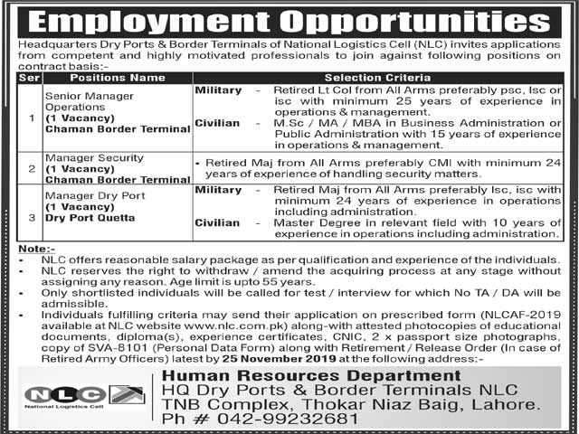 Manager Dry Port,Manager Security,Senior Manager Jobs In National Logistics Cell NLC Lahore