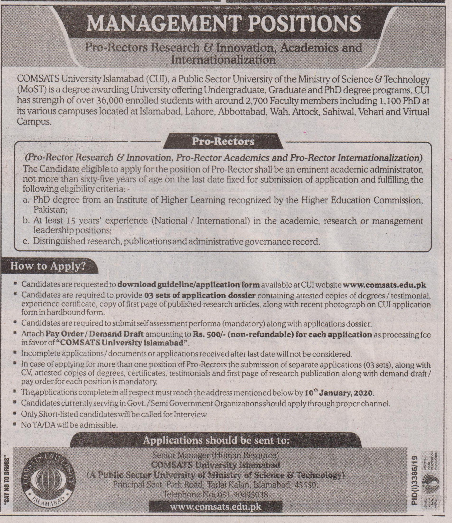 Manager Jobs in Comsats University Islamabad