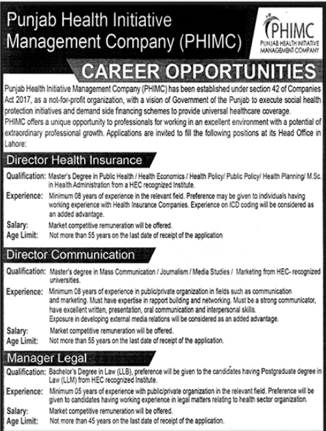 Manager Legal,Director Health Insurance jobs in Lahore
