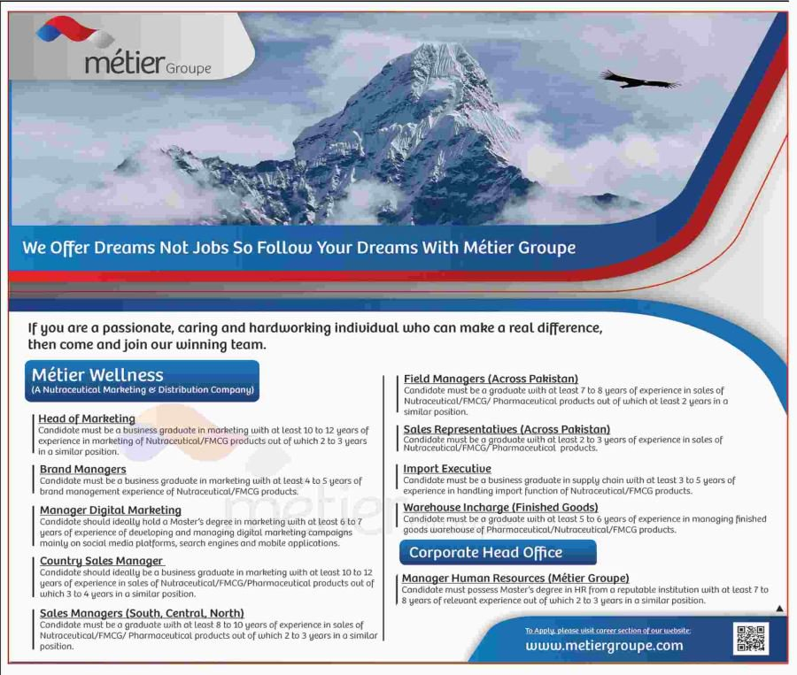 Metier Group Pakistan Offers Jobs 2019