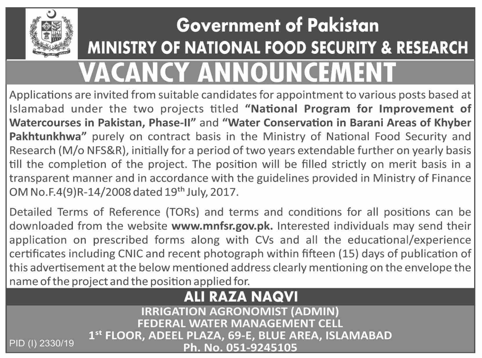 Ministry of National Food Security & Research Offering Jobs In Islamabad