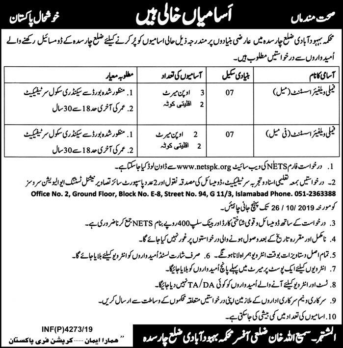 Population Welfare Department Offering Jobs In Charsadda
