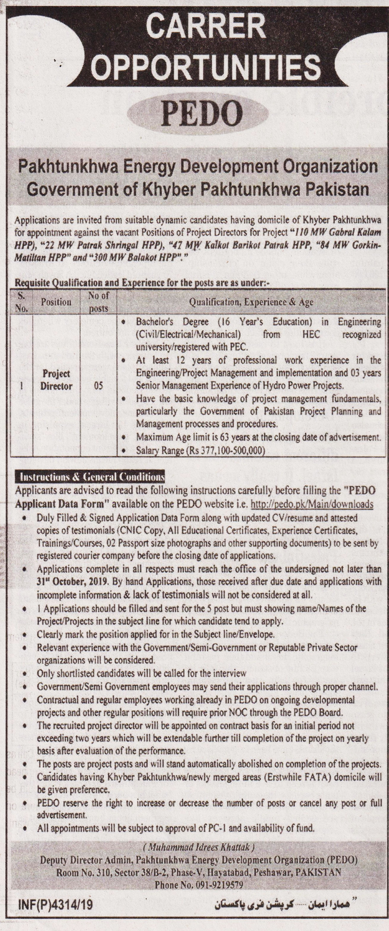 Project Director  Job In Pakhtunkhwa Energy Development Organization Peshawar