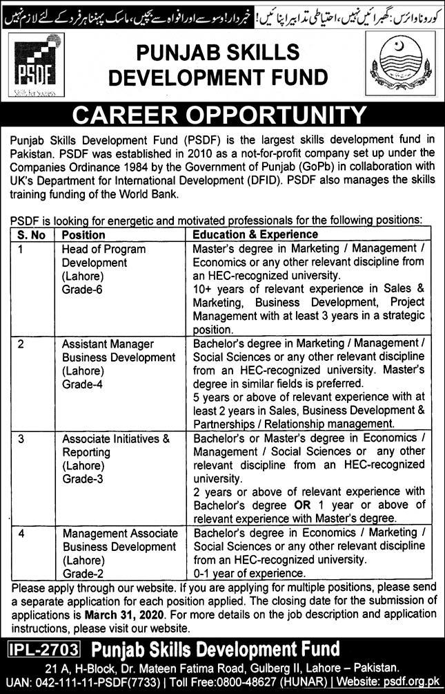 Punjab Skills Development Fund jobs