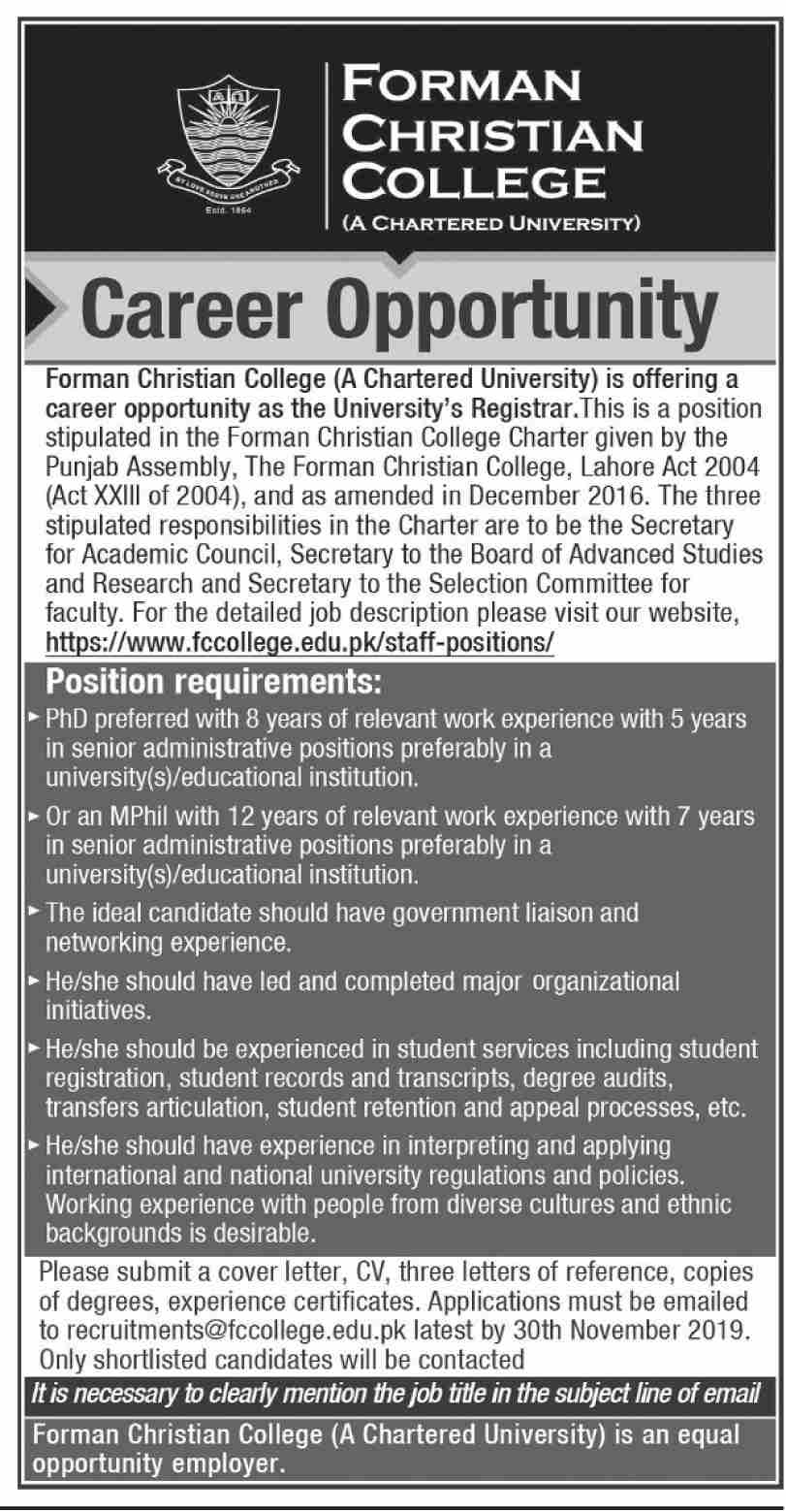 Registrar Jobs In Forman Christian College Lahore