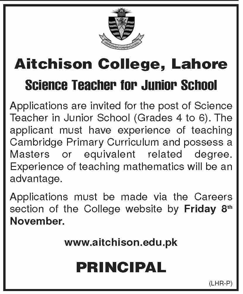 Science Teacher  Jobs In Aitchison College Lahore
