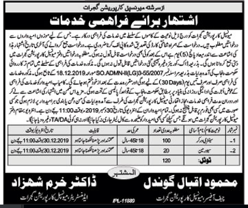 Sewerman jobs in Municipal Corporation Gujrat