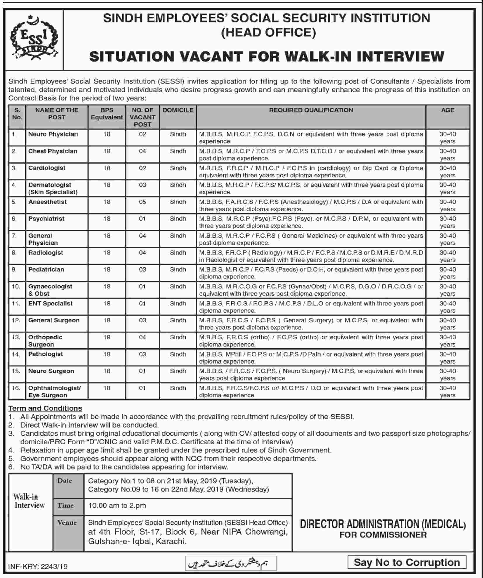 Sindh Employees Social Security Institution Announced Jobs 2019