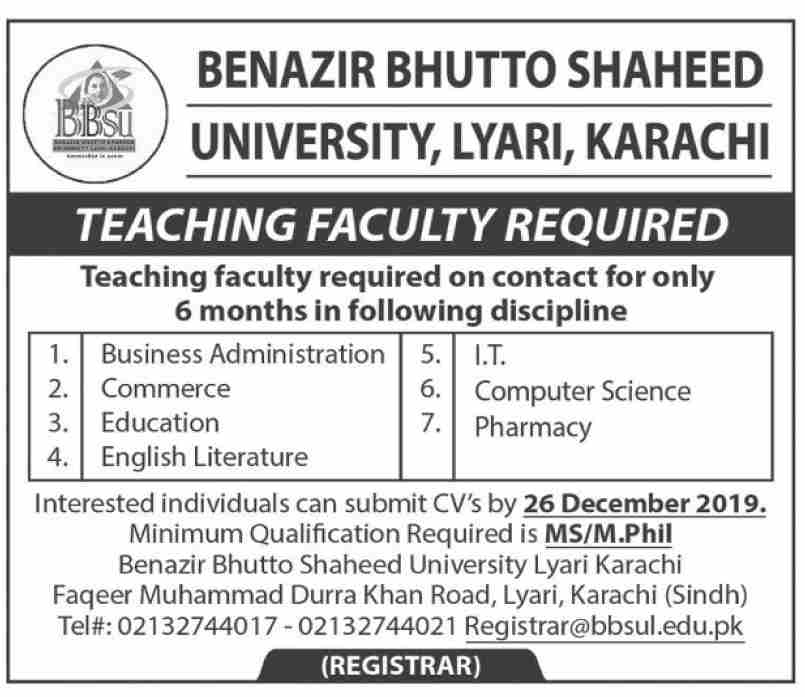 Teaching Staff jobs in Benazir Bhutto Shaheed University Karachi