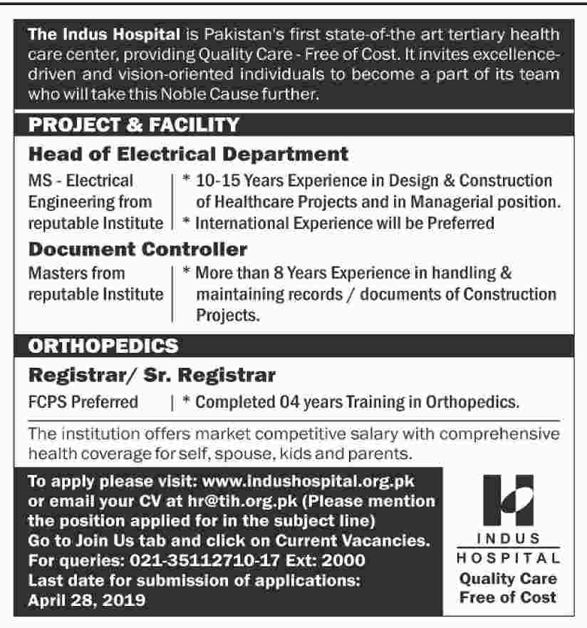 The Indus Hospital Offering latest jobs 2019
