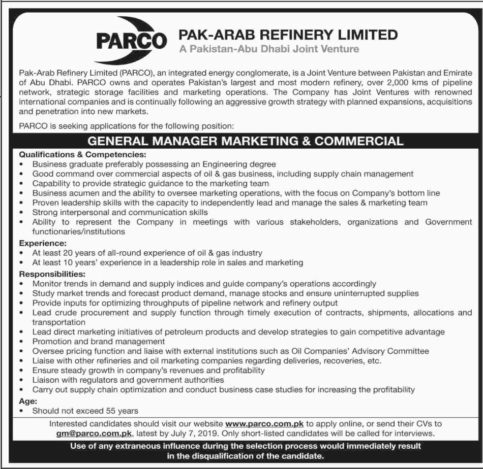 Pak-Arab Refinery Parco Limmited Offers Jobs 2019