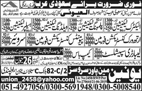Union Manpower Services Offers International Jobs 2019