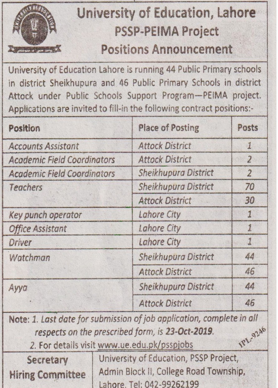 University Of Education Lahore  Offering Jobs 2019