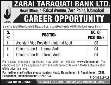 Zarai Taraqiati Bank Islamabad Looking for Staff 2019
