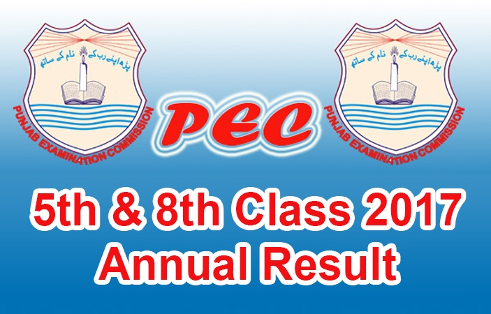 PEC announced today 5th and 8th Class result 2017 successfully