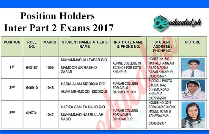 Inter Part 2 Exams 2017 Bahawalpur Board Position Holders announced