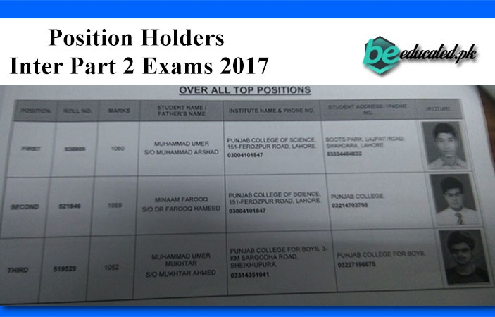 Inter Part 2 Exams 2017 Lahore Board Position Holders announced