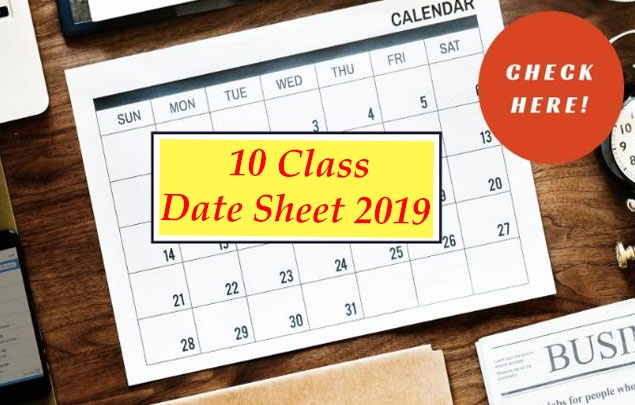 Latest News 10th Class Date Sheet 2019