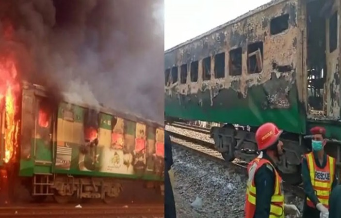 Tezgaam Express catches fire after cylinder Explosion !