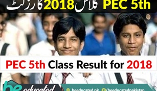 PEC 5th Class Result for 2018 Is On Its Way