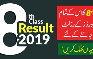 New Update 8th Class Result 2019 Announced All Boards
