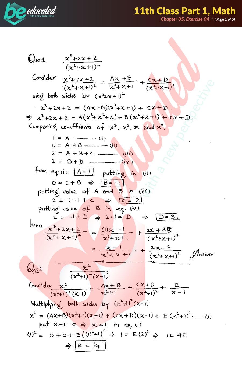 Exercise 5 4 Mathematics FSc Part 1 Notes - Inter Part 1 Notes