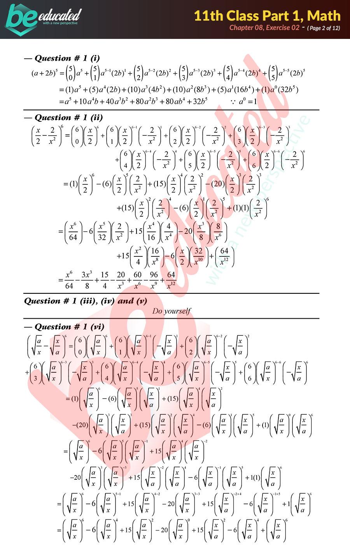 Exercise 8 2 Mathematics FSc Part 1 Notes - Inter Part 1 Notes