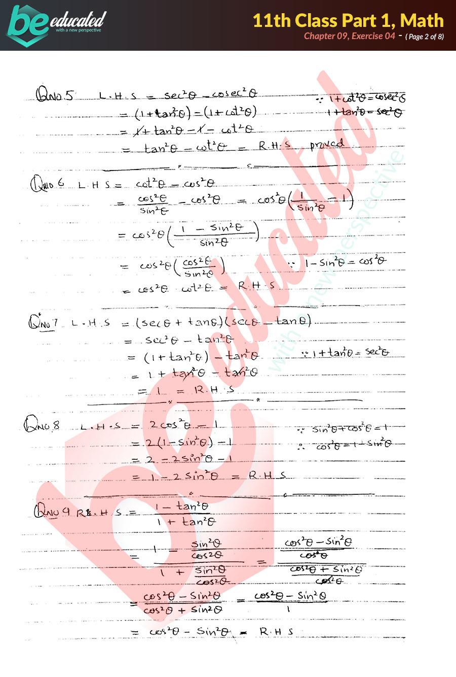 Exercise 9 4 Mathematics FSc Part 1 Notes - Inter Part 1 Notes