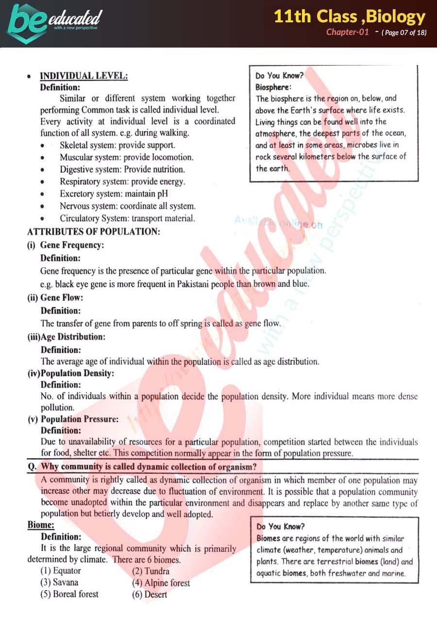 Chapter 1 biology FSc Part 1 Notes - Inter Part 1 Notes